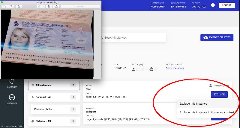 PII screenshot, exclude passport