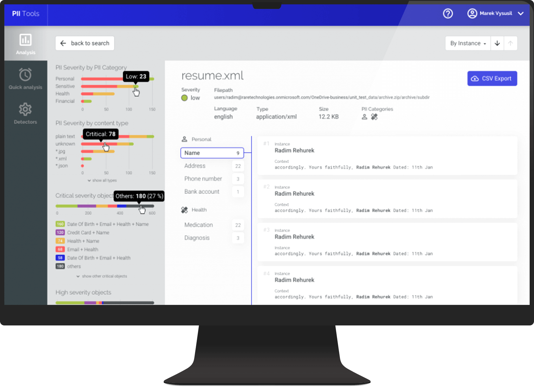 PII Tools web app preview